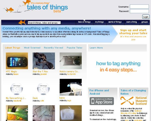 Screen Capture of the Tales of Things website
