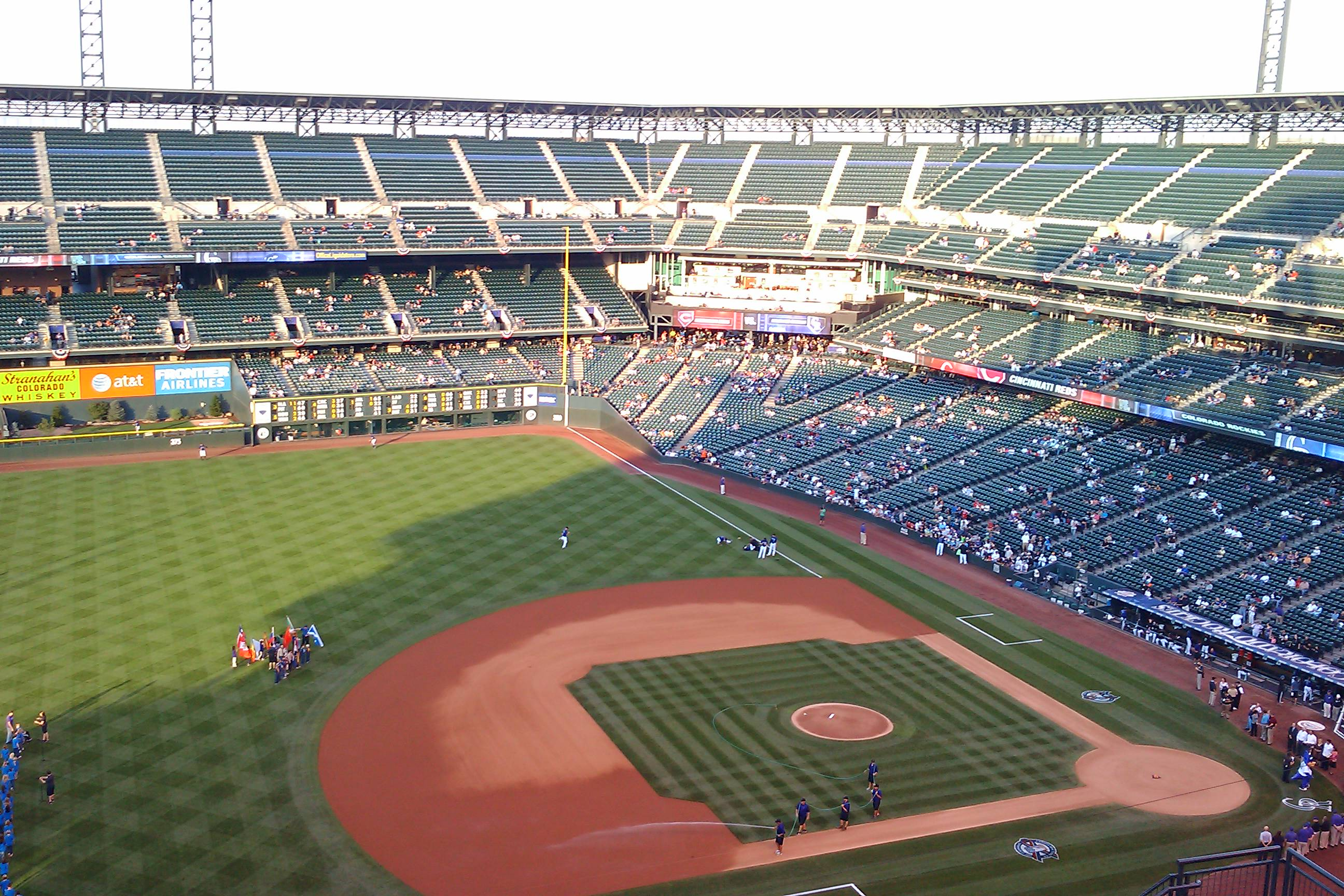 View from the mile high seats in the baseball stadium.